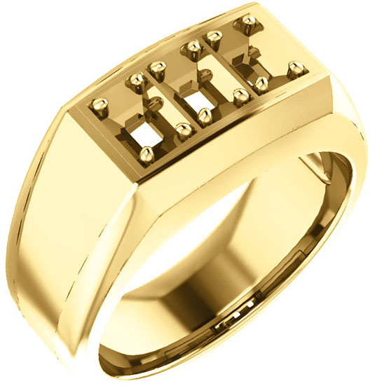 3-Stone Men's Ring Mounting for Emerald Shape Centergem Sized 5.00 x 3.00 mm to 7.00 x 5.00 mm - Customize Metal, Accents or Gem Type