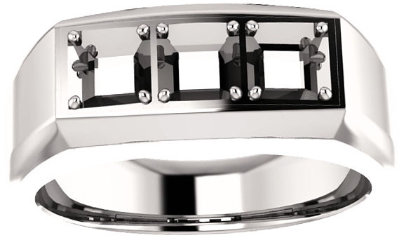 3-Stone Men's Ring Mounting for Square Shape Centergem Sized 2.00 mm to 6.00 mm - Customize Metal, Accents or Gem Type