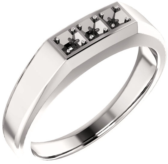 3Stone Men's Ring Mounting for Square Gemstone Size 2mm to 6mm