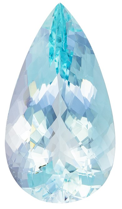 Impressive Size in 30.38 carat Huge Natural Aquamarine Gemstone, Greenish Blue Medium Color, 31.5 x 17.5mm