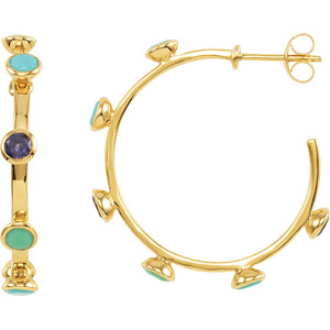 30 mm 18 karat Yellow Vermeil Hoop Earrings with Cool Colored Gems