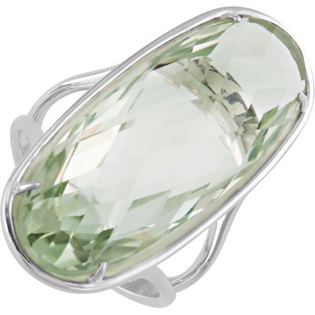 Perfect Jewelry Gift 30x12mm Double Sided Checkerboard Green Quartz Ring