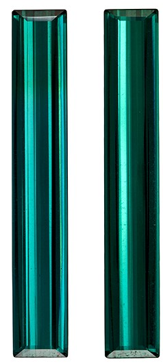 32.1 x 5.2 mm Blue Green Tourmaline Well Matched Gem Pair in Emerald Cut, Rich Teal Blue, 10.04 carats