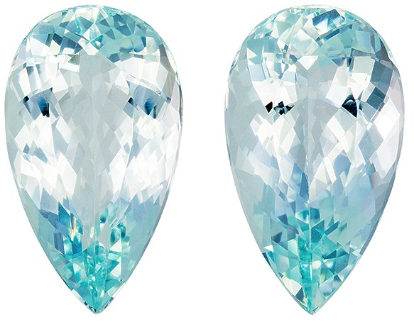Great Deal on  Blue Aquamarine Loose Stones, 33.92 carats, Pear Cut, 20.9 x 12.2  mm , Matching PairGreat Deal on This Gem