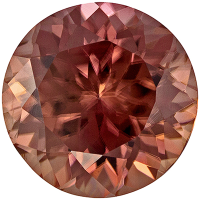 Bright & Lively Zircon Quality Gem, 4.02 carats, Rosey Brown, Round Cut, 8.7 mm