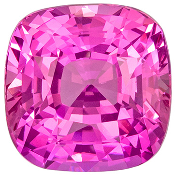 Intense Color in 4.02 carat Pink Sapphire Impressive Gem in Cushion Cut, GIA Certed in 8.5mm Size