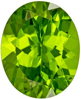 Bright & Lively Peridot Genuine Gemstone, Oval Cut, Rich Lime Green, 11 x 9 mm, 4.03 carats