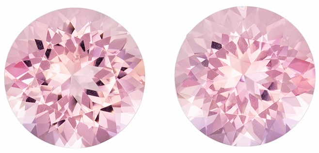 Loose Stunning 4.08 carats Pink Morganite Round Gemstone Pair, 8.7 mm