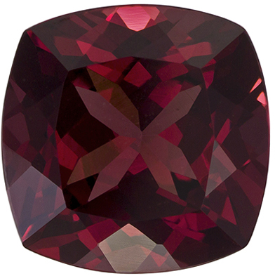 4.12 carats Rhodolite Loose Gemstone in Cushion Cut, Rich Raspberry, 9.1 mm