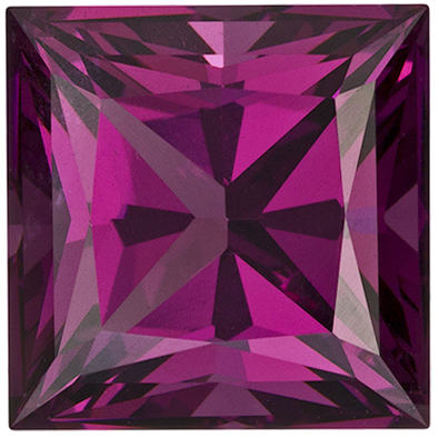 4.12 carats Rhodolite Loose Gemstone in Princess Cut, Raspberry Red, 8.5 mm