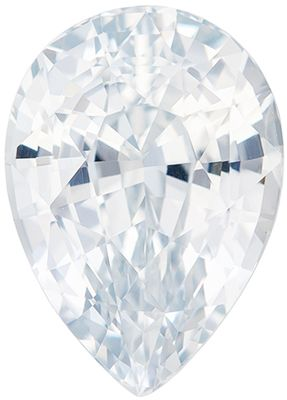Hard to Find, White Sapphire Genuine Loose Gemstone in Pear Cut, 4.2 carats, Very Colorless White, 11 x 8 mm