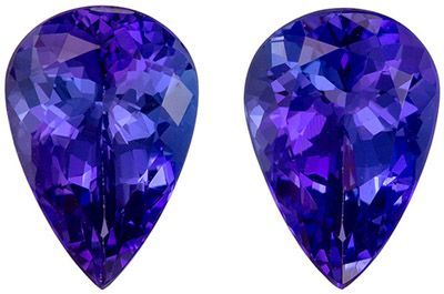 So Pretty 4.23 carats Blue Purple Tanzanite Pear Gemstone Pair, 10.2 x 7 mm