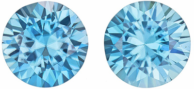Gorgeous Well Matched Round Shape Blue Zircon Gem Pair, 4.24 carats, Vivid Rich Blue, 7.5 mm