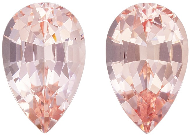 Stunning Pink Morganite Loose Stones, 4.24 carats, Pear Cut, 11 x 7  mm , Matching Pair