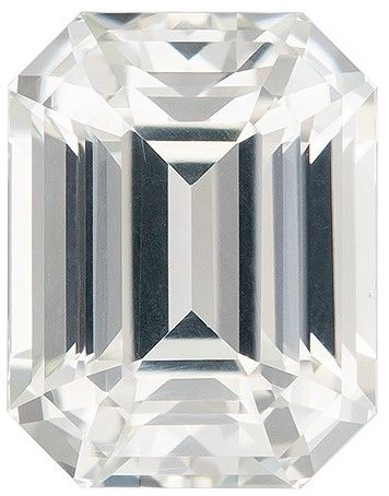 Quality White Sapphire Gemstone, 4.25 carats, Emerald Cut, 9.4 x 7.3 mm, A Highly Selected Gem