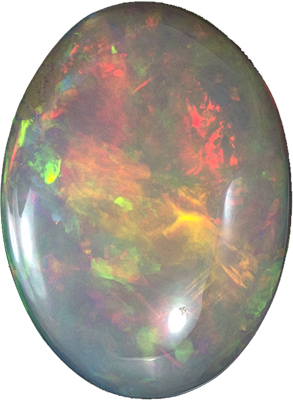 Very Pretty Oval Cut Ethiopian Opal Gem, 16.4 x 12.2 mm, Very Fiery Multicolored, 4.3 carats