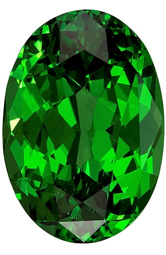 Stunning Gem in 11.8 x 8.2 mm Tsavorite Genuine Gemstone in Oval Cut, Grass Green, 4.32 carats