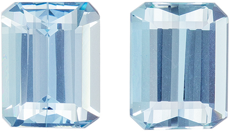Faceted 4.33 carat Blue Aquamarine Gemstone in Emerald Cut 9 x 7 mm