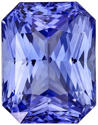 4.36 Carat Radiant Cut Cornflower Blue Sapphire Gemstone, 9.5 x 7.4 mm, 4.36 carats