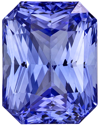 4.36 carats Blue Sapphire Loose Gemstone in Radiant Cut, Cornflower Blue, 9.5 x 7.4 mm
