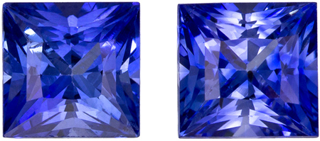 4.4 mm Blue Sapphire 2 Piece Matched Pair in Princess Cut, Vivid Blue, 1.23 carats