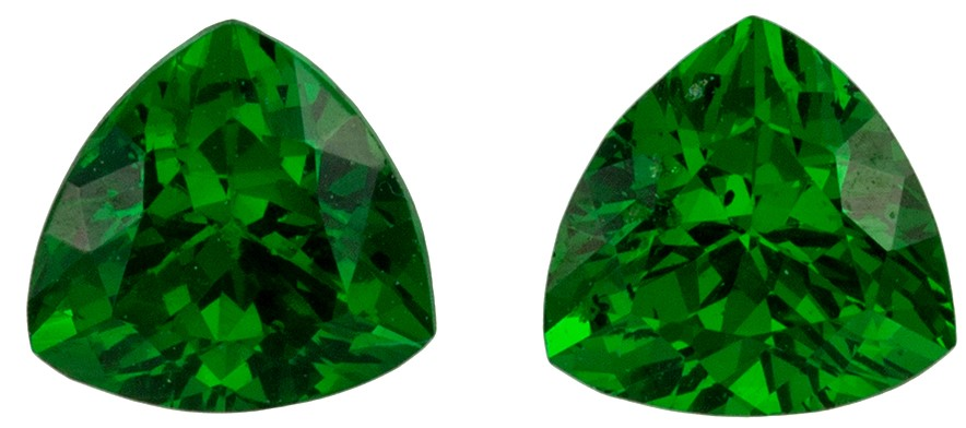 Classic Pair of Tsavorite Garnet 0.78 carats, Trillion shape gemstones, 4.4  mm