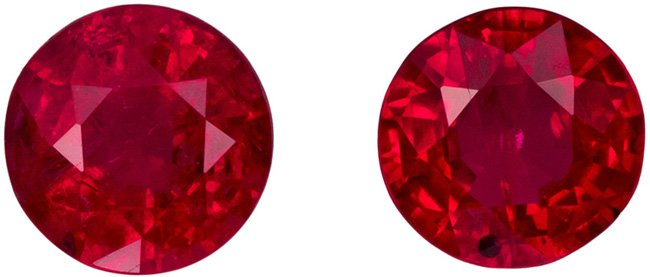 4.5 mm, 0.83 carats Bargain Priced Ruby Matched Pair, Pure Rich Red Color
