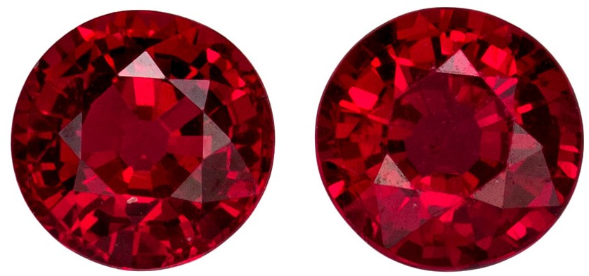 4.5 mm Ruby Genuine Gemstone in Round Cut, Rich Red, 0.98 carats