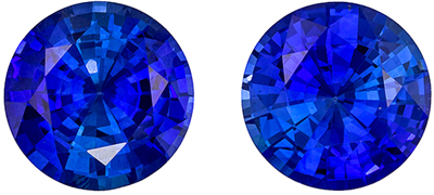 Special GRS Certified Sapphire Matched Pair, 4.53 carats, Intense Rich Blue, Round Cut, 8.3 x 8.3 x 4.6 mm