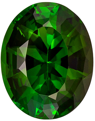 Wonderful Rich Looking Oval Cut Green Tourmaline Gemstone, 12.3 x 9.7 mm, Forest Green Color, 4.55 carats