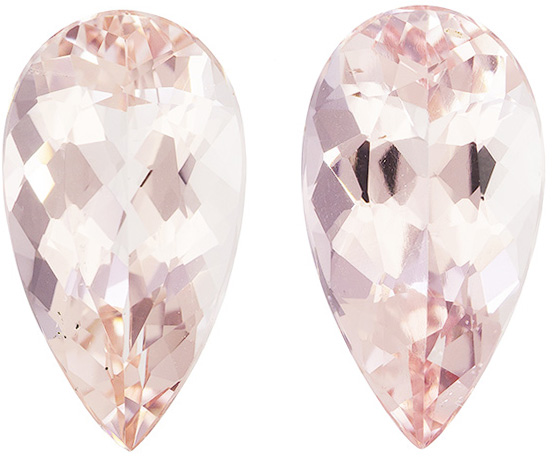 4.58 carats Low Price on Morganites Pair, Medium Peach Pink, 12.5 x 6.9 mm Gems - SOLD