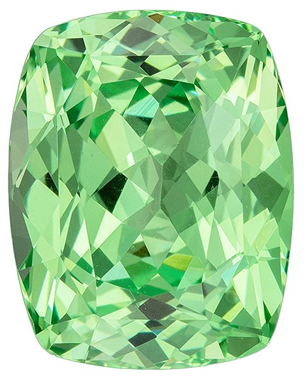 Mint Green Garnet Genuine Gemstone, 4.61 carats, Cushion Cut, 10.6 x 8.4  mm , Gemmy Low Cost Stone