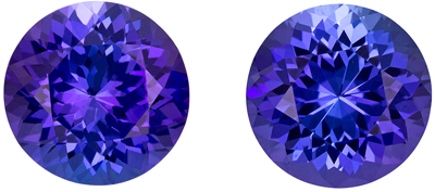 Rich Blue Purple Color in Tanzanite 4.65 carat Matched Round Cut Pair in 8.4mm Size