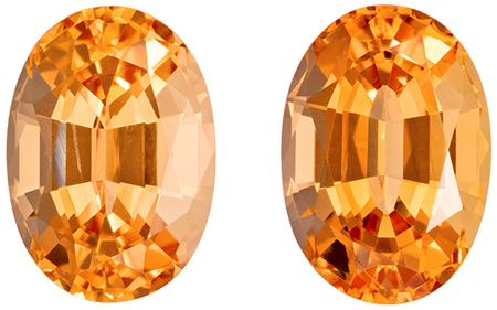 4.69 carats Precious Topaz Well Matched Gem Pair in Oval Cut, Peachy Golden, 9.2 x 6.5 mm