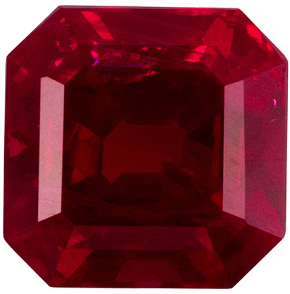 4.7 mm Ruby Genuine Gemstone Square Cut, Pure Red, 0.72 carats