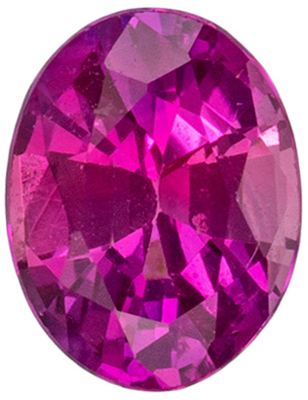 4.7 x 3.7 mm Pink Sapphire Genuine Gemstone in Oval Cut, Intense Pink, 0.34 carats