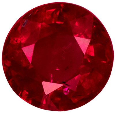 4.8 mm, 0.57 carats Excellent Ruby Gemstone in Round Cut, Vivid Rich Red Color,