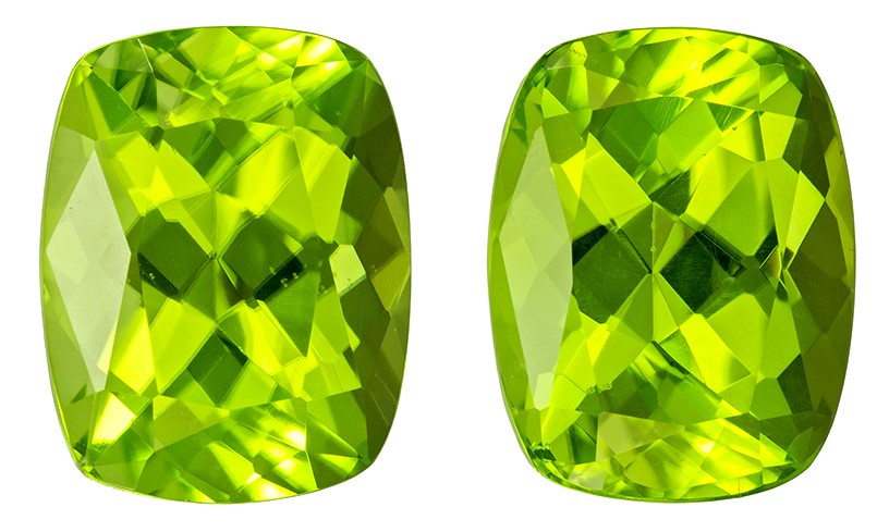 4.84 carats Peridot 2 Piece Matched Pair in Cushion Cut, Vivid Lime Green, 9 x 7 mm
