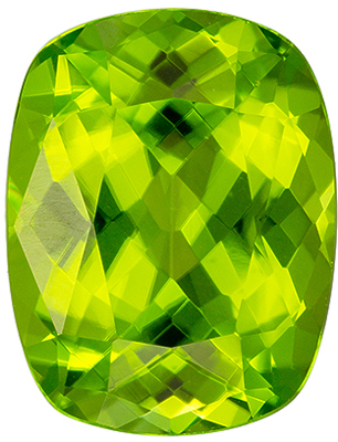 Natural Loose 4.84 carats Green Peridot Cushion Genuine Gemstone, 11.7 x 9.1 mm
