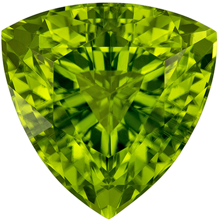 4.89 carats Peridot Loose Gemstone in Trillion Cut, Medium Lime Green, 10.7 mm