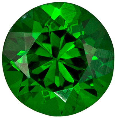 4.9 mm Tsavorite Genuine Gemstone in Round Cut, Medium Grass Green, 0.58 carats