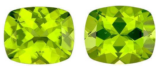 Very Fine 4.91 carats Peridot Loose Gemstone in Cushion Cut, Medium Green, 12 x 10 mm