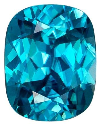 Rich 4.92 carat Blue Zircon Gemstone in Superb Cushion Cut 10.5 x 8.2 mm