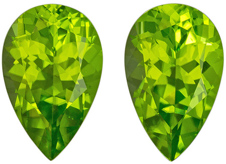 4.94 carats Peridot Well Matched Gem Pair in Pear Cut, Intense Lime Green, 11.5 x 7.2 mm