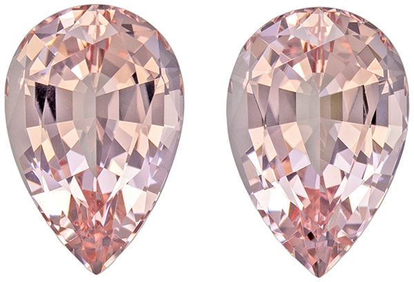 4.95 carats Pair of Morganite in Pear Cut, Rich Peach Pink Color in 11.3 x 7.6 mm