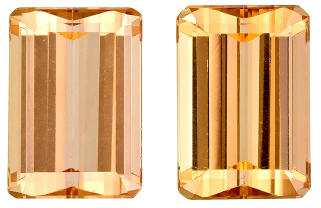 Loose Stunning 4.98 carats Topaz Genuine Gemstone Pair in Emerald Cut, Golden Peach, 8.9 x 6.2 mm
