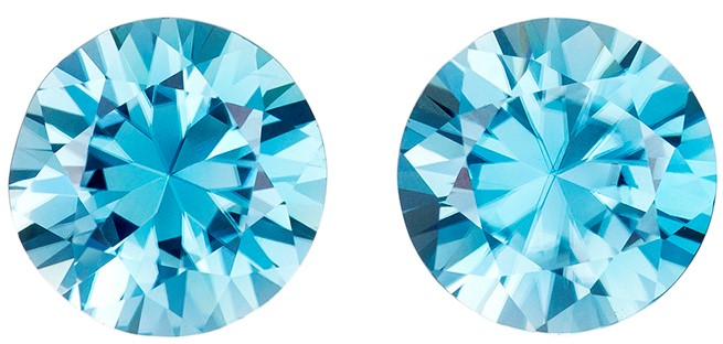 Exquisite Blue Zircon 4.99 carats, Round shape gemstone, 8  mm