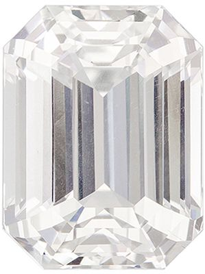 Must See 4.99 carats White Sapphire Emerald Genuine Gemstone, 10.1 x 7.7 mm