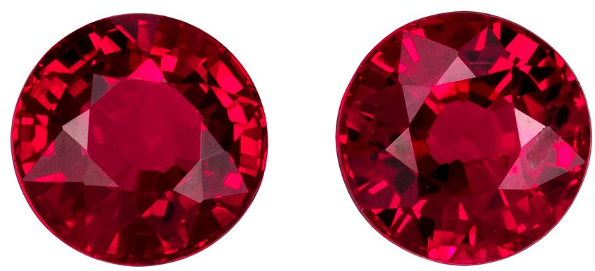 4 mm Ruby Well Matched Gem Pair in Round Cut, Pigeon's Blood Red, 0.63 carats