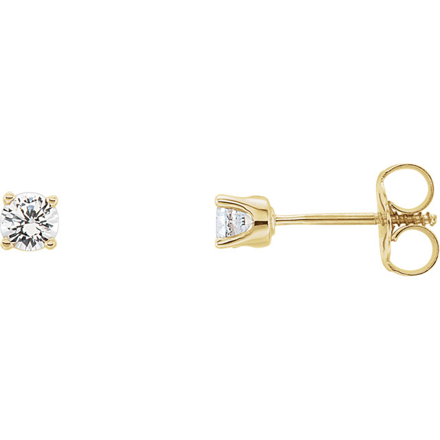 Chic 14 Karat Yellow Gold Genuine White Sapphire Earrings